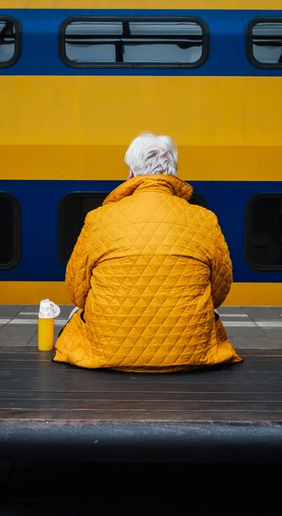 Old woman in public transports